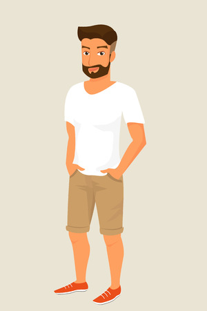 stylish boy: Hipster guy wearing beige shorts and white t-shirt.