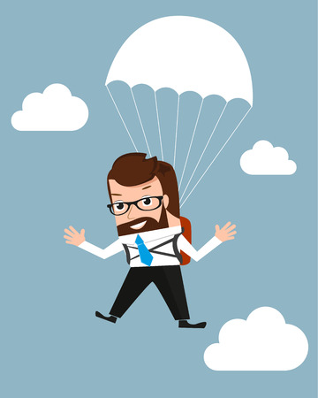parachuting: Lucky businessman is flying with parachute  Conceptual illustration