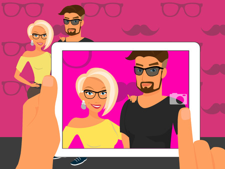 taking picture: Photographing of happy couple on fuchsia background using white tablet pc