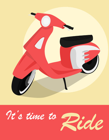 restored: Vintage card of scooter in retro style