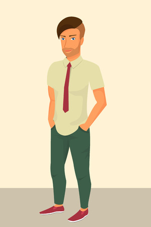 young man jeans: Hipster guy wearing green jeans and red tie