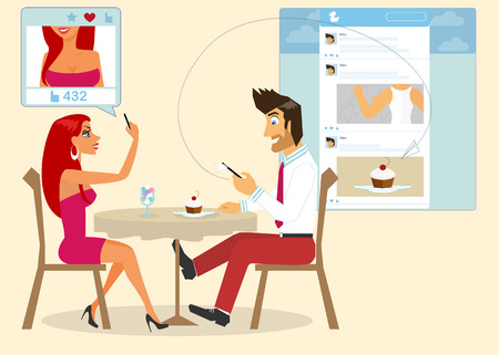 Man and woman are sitting in a cafe and taking a photo of a cake for social networking   Vector