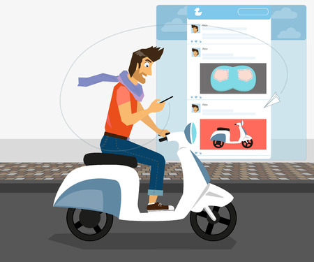 checking account: Handsome guy is riding white bike and checking his account in social networking - clipping mask for street.