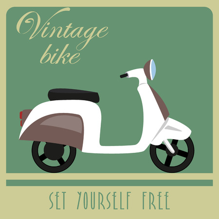 restored: Vintage card of white scooter in retro style  Illustration