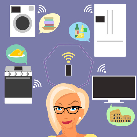 telly: Blond woman thinking about smart gadgets at home