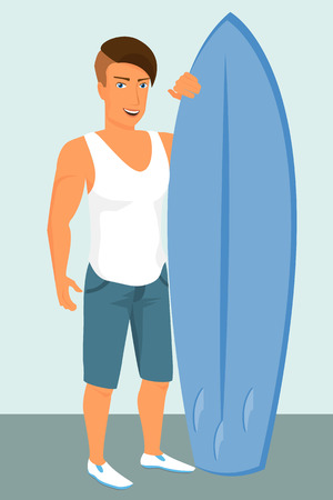 Hipster guy wearing stylish haircut with blue surfboard Vector