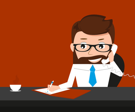 approvement: Lucky businessman is signing contract and talking via phone. Conceptual illustration. Contains EPS10 and high-resolution JPEG
