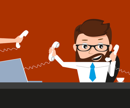 Lucky businessman is speaking via three phones. Conceptual illustration.  Vector