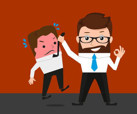 delaying: Businessman asks manager about delaying deadline. Conceptual illustration.