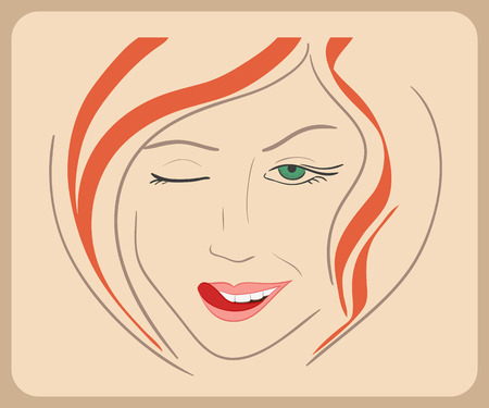 woman tongue: Hand drawn woman face winks with red hair and green eyes.  Illustration