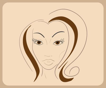 茶髪: 官能的な目と茶色の髪と手描きの女性の顔。