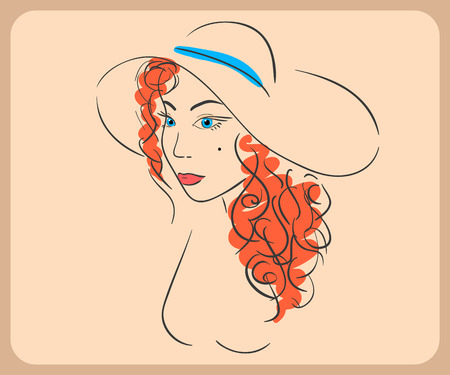 woman wearing hat: Handdrawn woman wearing wavy red hair and hat.