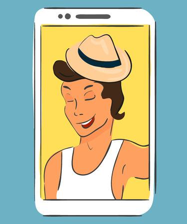 Selfie of guy wearing hat.