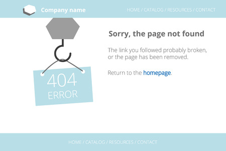 found: Craning a message about Page not found Error 404. Text outlined. Used free font Open Sans Illustration