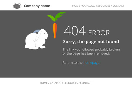 not open: Page not found Error 404 with dead rabbit. Text outlined. Used free font Open Sans Illustration