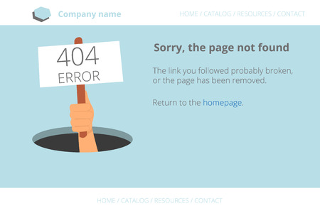 not open: Human hand shows from hole a message about Page not found Error 404. Text outlined. Used free font Open Sans