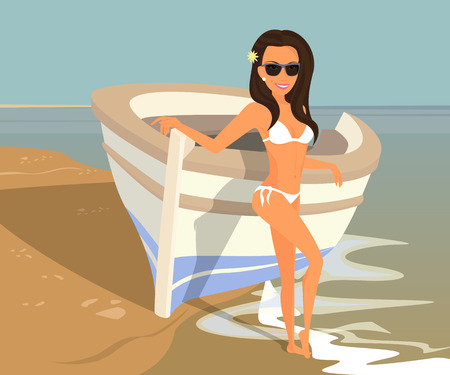 Brunette woman wearing white swimsuit is posing near boat on the beach. Contains EPS10 and high-resolution JPEG Vector