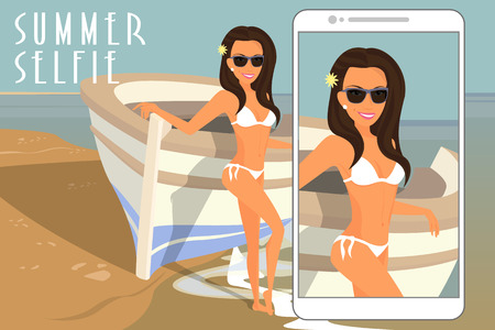 Selfie of brunette woman wearing white swimsuit near boat.  Vector