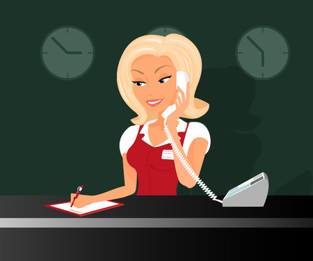 secretary office: Female blond receptionist is taking a call in the hotel.
