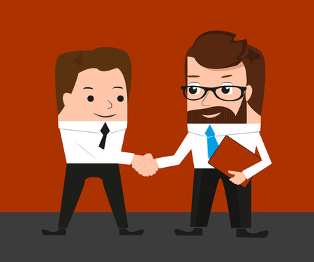 approvement: Lucky businessman is shaking hands with a colleague Illustration