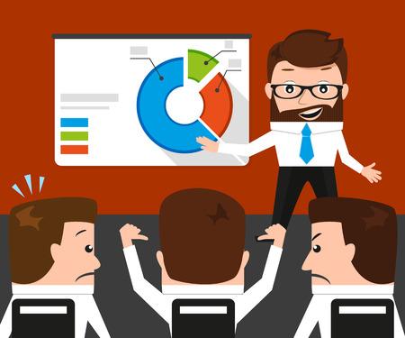 failed: Lucky businessman failed presentation for his colleagues