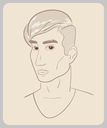 olhos castanhos: Desenho da face do homem com olhos castanhos ilustra