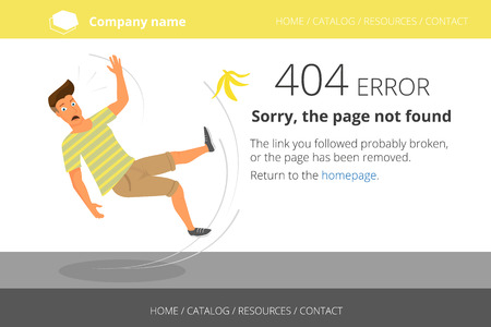 Man slipped on a banana, Page not found Error 404 Vector