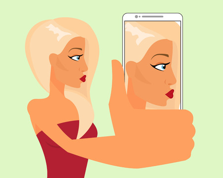 sexual couple: Selfie of blond sensual girl Illustration