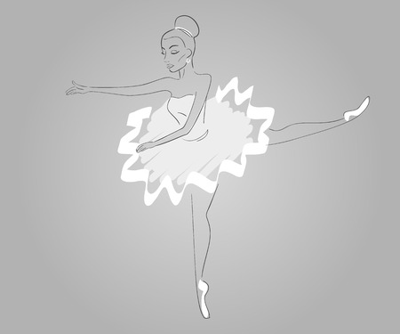 Hand drawn ballerina wearing white dress - paths outlined Vector