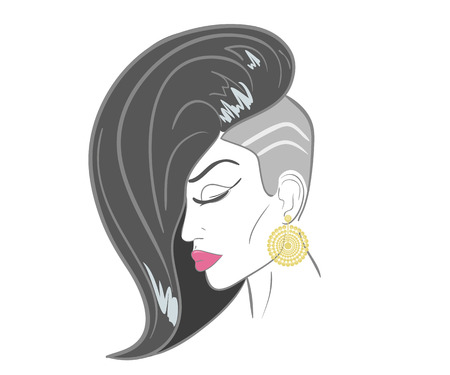 close up face woman: Hand drawn woman face with sensual lips and black hair Illustration