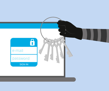 Thief has a key for your account in social networking Vector
