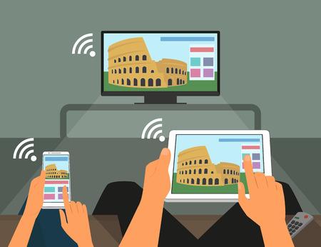 vrouw met tablet: Multiscreen interactie Man en vrouw deelnemen aan tv-show met behulp van smartphone en tablet pc Stock Illustratie