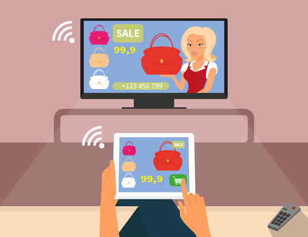 synchronizing: Multiscreen interaction Woman is purchasing red bag online in TV shop using tablet pc