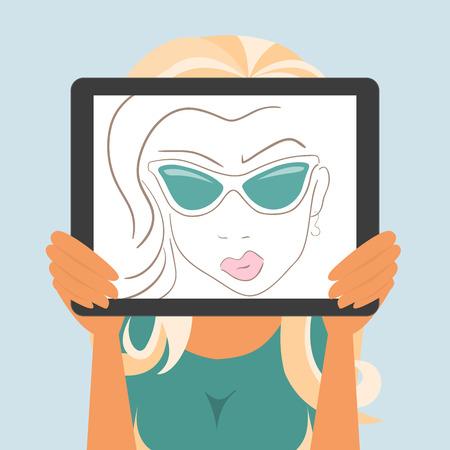 vrouw met tablet: De vrouw houdt tablet pc weergeven van fashion tekening