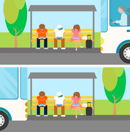 People are waiting a bus and using gadgets at this time Illustration