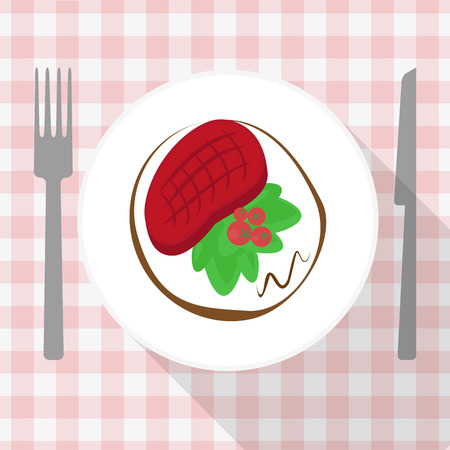 steak beef: Beef steak with salad and tomato on white plate Illustration