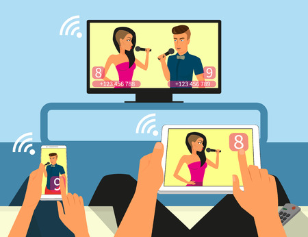 tv network: Multiscreen interaction Man and woman are participating in TV singer show using smartphone and tablet pc