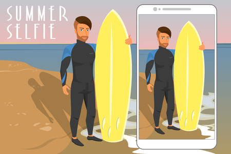 Selfie of hipster wearing diving suit with yellow surfboard