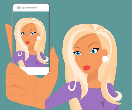 Drôle selfie de femme sensuelle blonde en canard-face