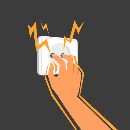 descarga electrica: Pega Human dedos en un enchufe eléctrico