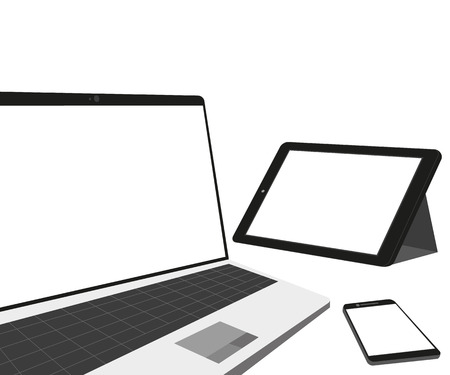 temlate: Laptop, tablet pc and smartphone as temlate  Isolated on white