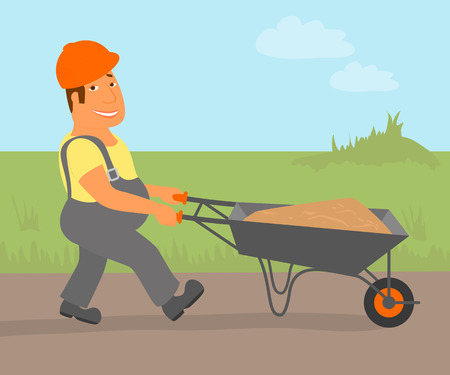 Builder with trolley is going to the project  Vector