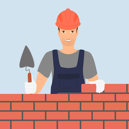 bricklayer: Builder man is building a brick wall