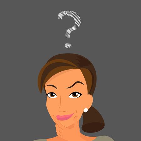 indeciso: Mujer linda que tiene un s�mbolo Handdrawn pregunta