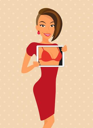 vrouw met tablet: Vrouw, gekleed in rode jurk is flirten met behulp van tablet pc