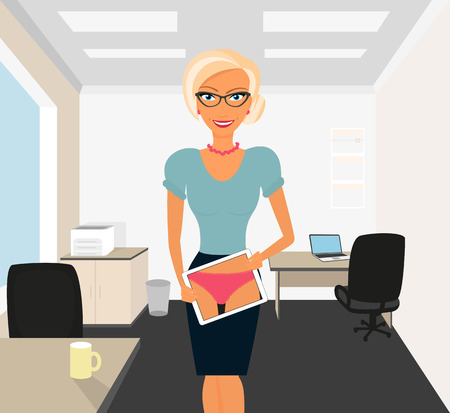 vrouw met tablet: Blonde vrouw flirten in het kantoor met behulp van tablet pc Stock Illustratie