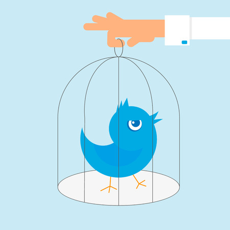 lonely bird: Human hand holds a cage with blue angry bird