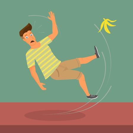 Man slipped on a banana  vector illustration Vector
