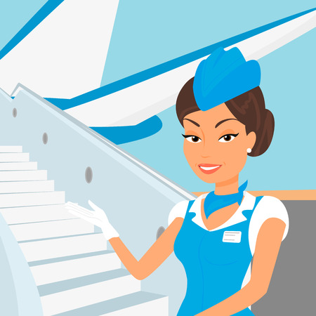 an attendant: Female stewardess wearing blue suit  and airplane behind