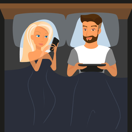 woman sex: Happy couple using digital devices in bed at night  Illustration